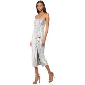 NEW Rachel Zoe Krista Dress silver 0 sequin ruffle